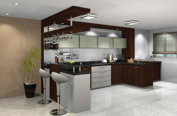 مدل کابینت زیبا و چوبی آشپزخانه