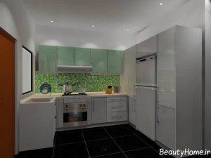 مدل کابینت آشپزخانه با رنگ روشن