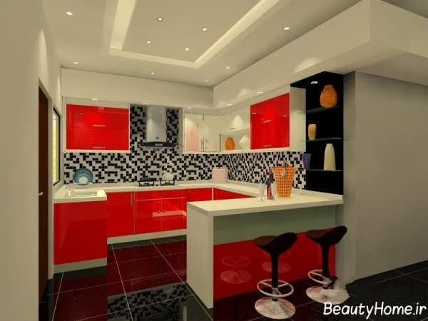 طرح کابینت قرمز آشپزخانه