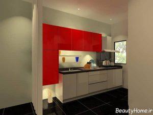 مدل کابینت سفید و قرمز آشپزخانه