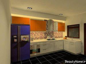 مدل کابینت سفید و نارنجی آشپزخانه