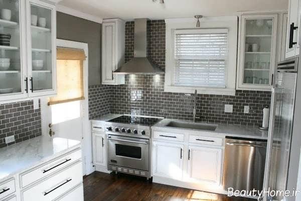 مدل کاشی آشپزخانه با رنگ تیره