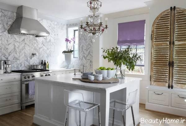 کاشی آشپزخانه با رنگ سفید