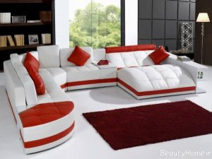 مبل چرم سفید و قرمز