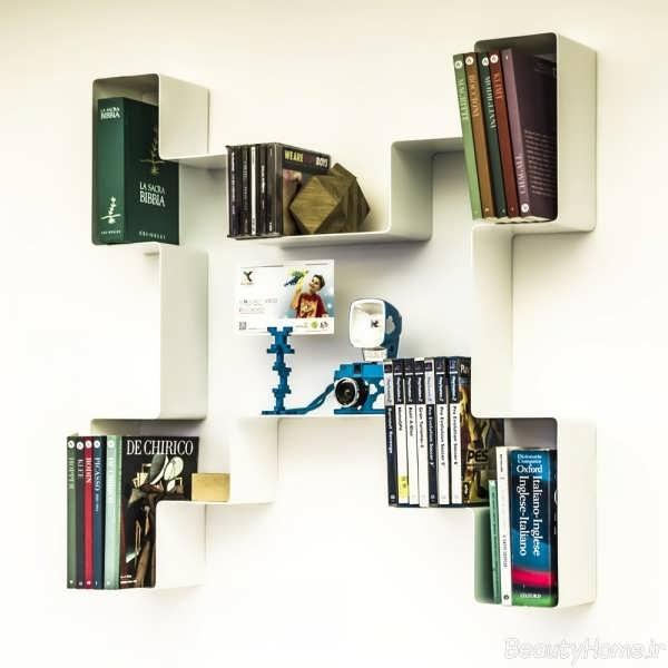 مدل کتابخانه دیواری با طرح خلاقانه و جذاب