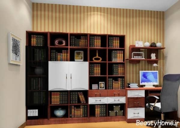مدل کتابخانه دیواری با طرح ساده