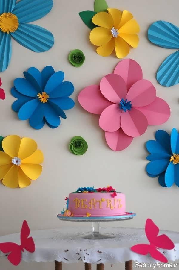 انواع ایده های خلاقانه برای تزیین دیوار با کاغذ رنگی