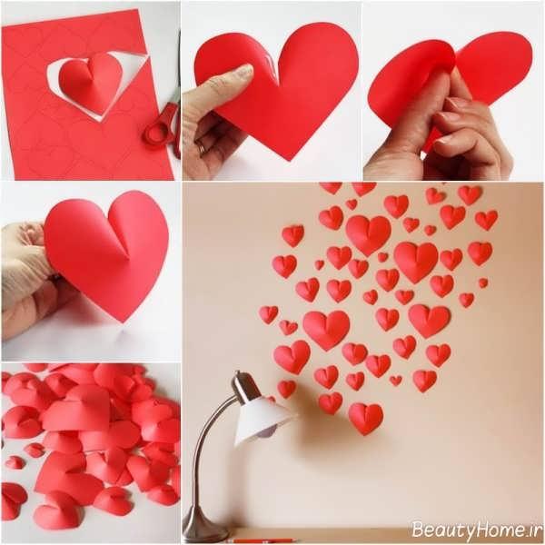 تزیین دیوار با قلب کاغذی