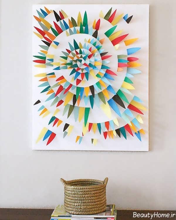 تزیین خلاقانه دیوار با کمک کاغذ رنگی