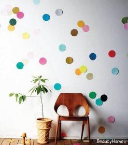 تزیین کردن دیوار با کاغذ رنگی زیبا
