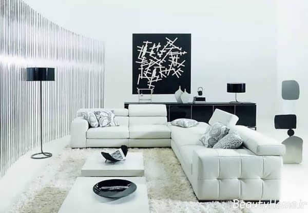 طراحی دکوراسیون سفید و سیاه اتاق نشیمن