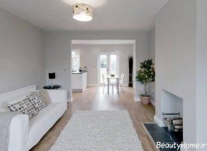 اتاق نشیمن سفید با طراحی کاربردی