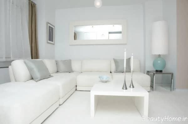 دکوراسیون زیبا و جذاب اتاق نشیمن با رنگ سفید