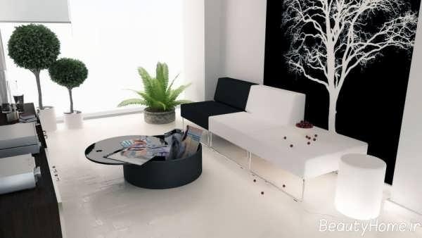 دیزاین اتاق نشیمن سفید