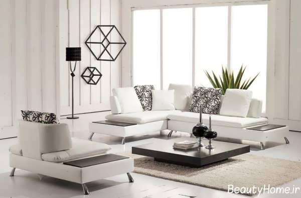 دیزاین دکوراسیون نشیمن سفید