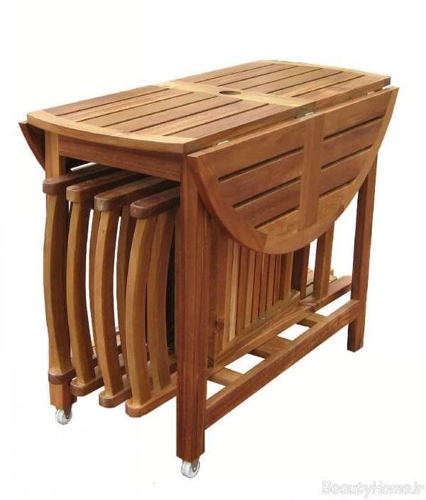 میز ناهار خوری تاشو چوبی