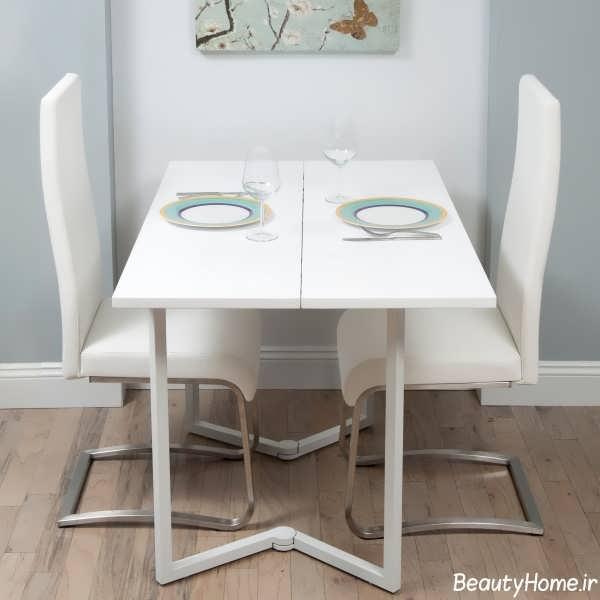 مدل میز ناهار خوری تاشو سفید
