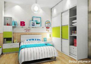 کمد دیواری زیبا و شیک اتاق کودکان