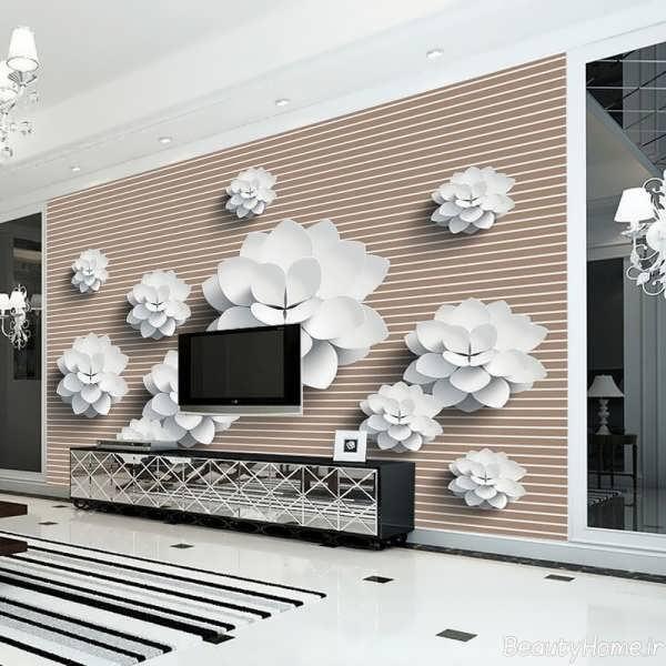 کاغذ دیواری پشت تلویزیون با طرح سه بعدی