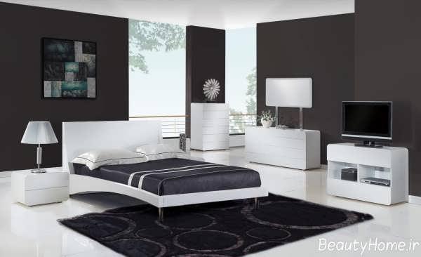 مدل سرویس خواب دو نفره سفید با طراحی متفاوت و زیبا