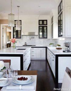 مدل کابینت آشپزخانه سفید مشکی