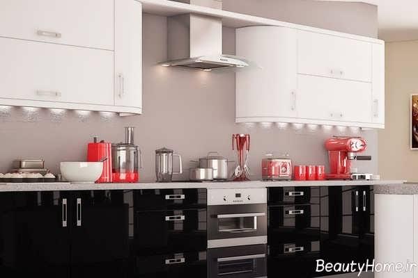مدل کابینت مشکی سفید آشپزخانه