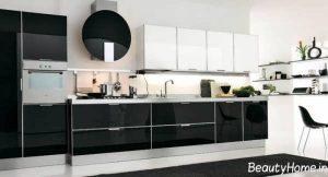 مدل کابینت مدرن آشپزخانه با رنگ سفید مشکی