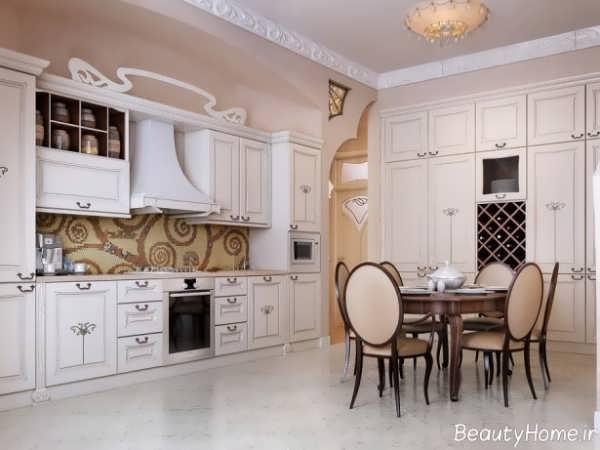 دکوراسیون سفید آشپزخانه کلاسیک
