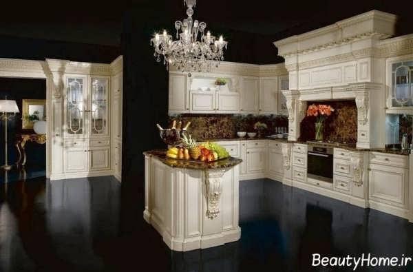 دکوراسیون آشپزخانه سفید و کلاسیک