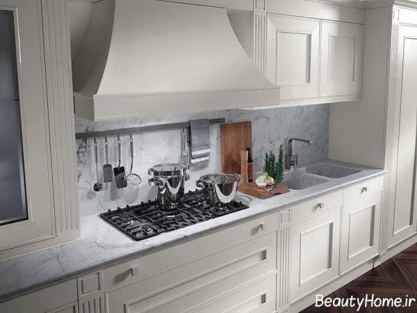 دکوراسیون داخلی سفید آشپزخانه