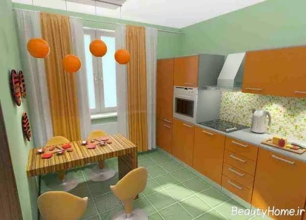 مدل پرده نارنجی آشپزخانه