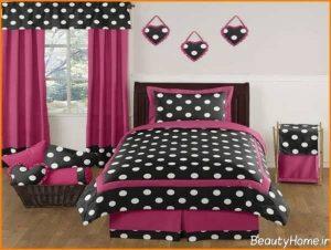 مدل پرده صورتی و مشکی اتاق خواب