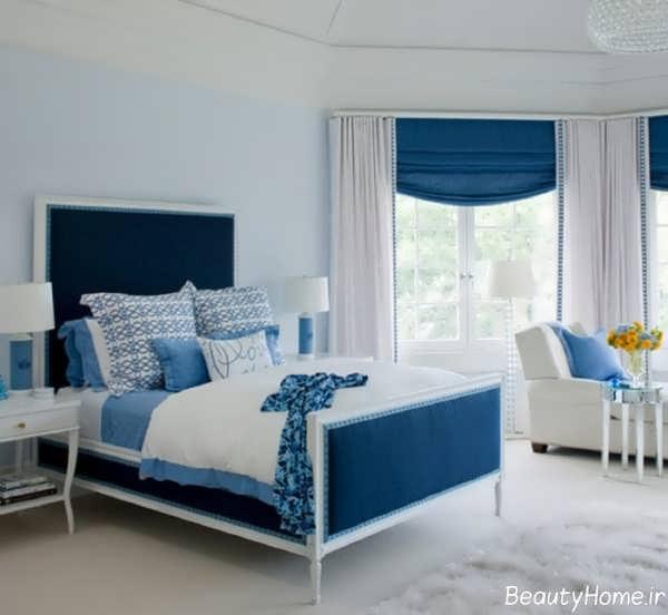 مدل پرده آبی و سفید اتاق خواب