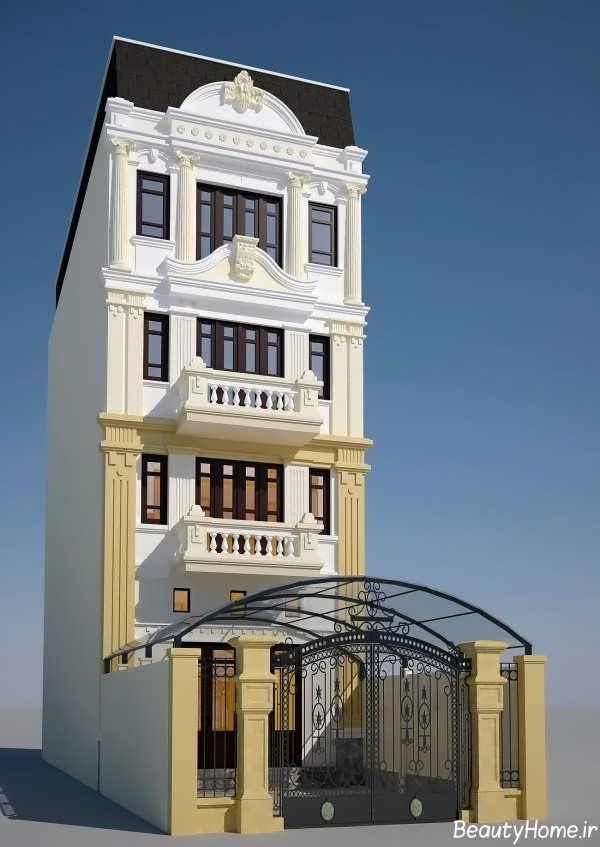 نمای دو رنگ ساختمان چهار طبقه