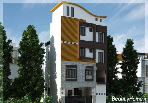 نمای مدرن ساختمان چهار طبقه