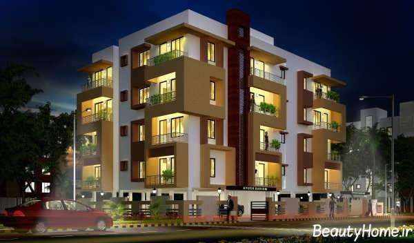 نمای ساختمان چهار طبقه با طراحی زیبا و جدید