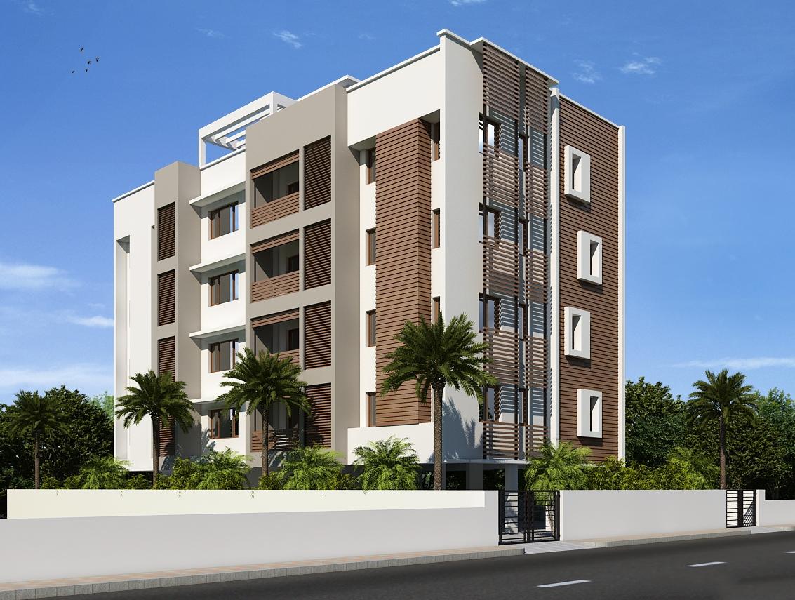نمای ساختمان چهار طبقه با طراحی کلاسیک و مدرن