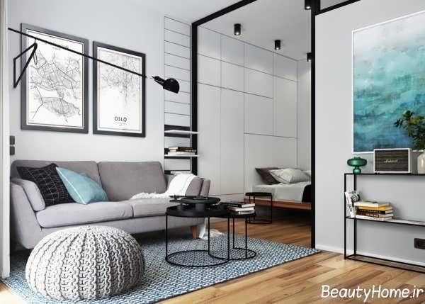 طراحی شیک و کاربردی اتاق نشیمن کوچک