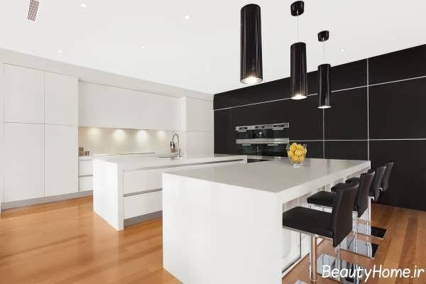 دکوراسیون سیاه و سفید آشپزخانه