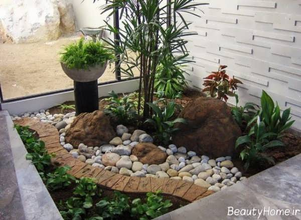 طراحی باغچه حیاط با سنگ