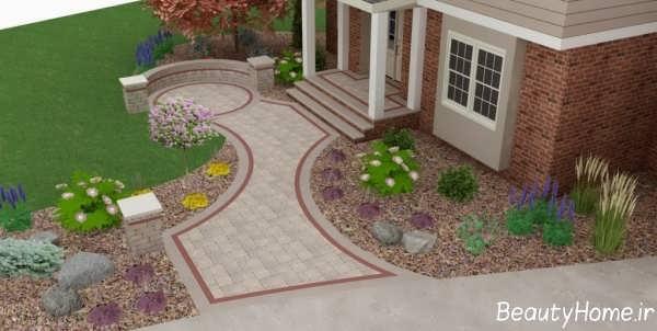 محوطه سازی زیبا و متفاوت حیاط