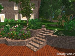 طراحی زیبا و متفاوت محوطه سازی حیاط