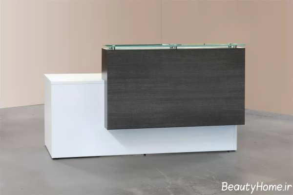 مدل میز پذیرش خاکستری و سفید