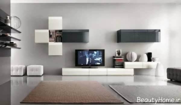 مدل میز تلویزیون سفید و سیاه