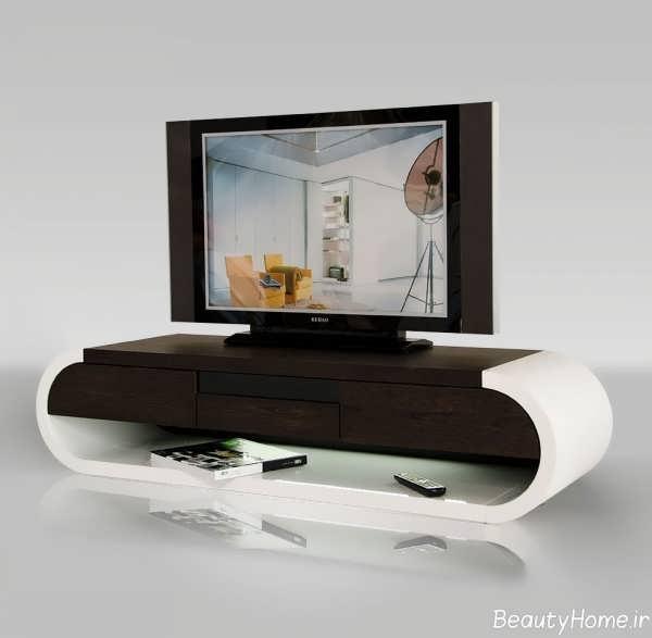 مدل میز تلویزیون قهوه ای و سفید