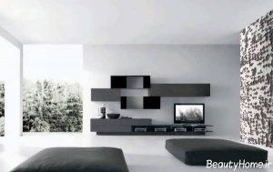 مدل میز تلویزیون 2017 با رنگ تیره