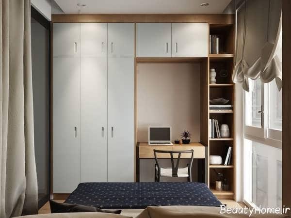 دکوراسیون شیک و کاربردی اتاق خواب کوچک