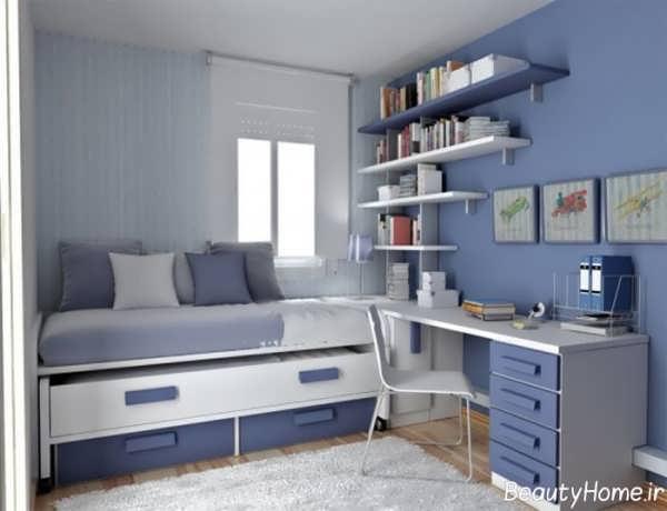دکوراسیون آبی اتاق خواب کوچک