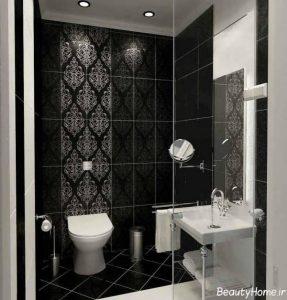 مدل کاشی حمام با رنگ تیره