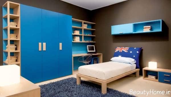 دکوراسیون آبی اتاق پسرانه جوان
